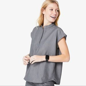 FIGS Graphite Rafaela Mandarin Collar Top